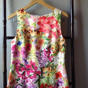 Chetta B Bright Floral Sleeveless Shift Dress